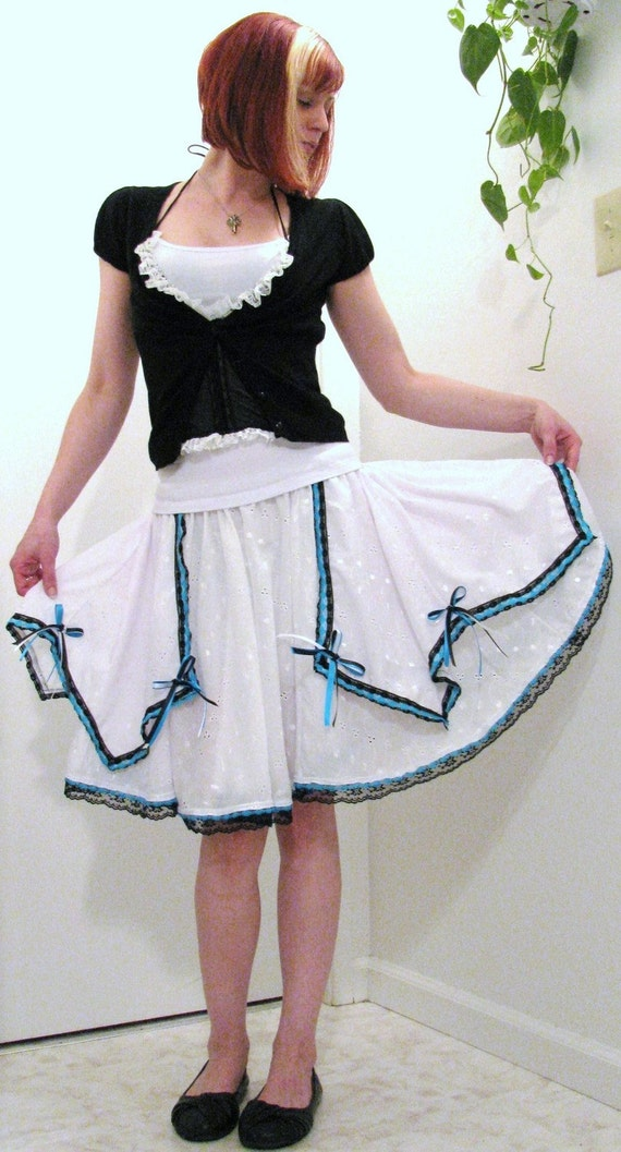 Black and Blue layered White eyelet Full circle skirt with lots of lace y bows lolita skirt