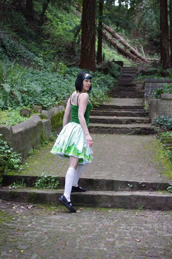Arsniccandy Vintage inspired Alice in Wonderland Sweet lolita Green gingham layered skirt Handmade