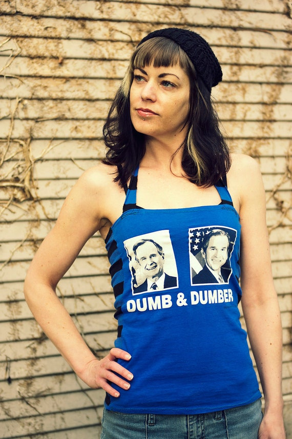 Arsniccandy funny Dumb & Dumber Blue striped George Bush halter top Handmade