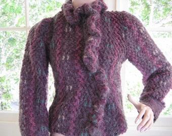 Vintage 1980s Purple Boucle Woven Sweater / Jacket / Cardigan