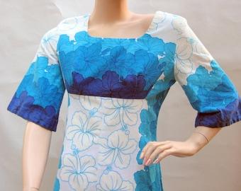 Beautiful Blue & White Hawaiian Floral Vintage 1960's Ui-Maikai Maxi Dress with Empire Waist