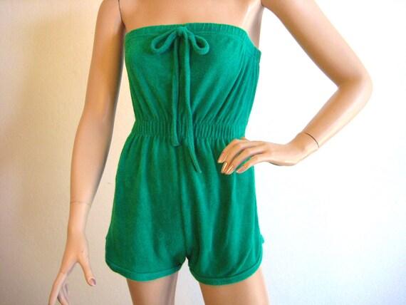 SUPER CUTE Vintage 1970's / 1980's Green Terry Sun Suit / Jumper