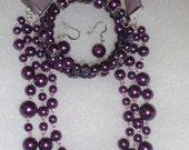 Purple Bridesmaid Jewelry Set (Necklace, Bracelet & Earrings)