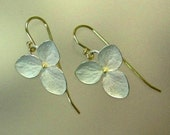 Hydrangea Drop Earrings, Sterling Silver Flowers, 18k Gold Earwires, Made to order