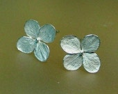 Hydrangea Flower Earrings, Silver Earrings, Botanical Stud Earrings, Post Earring, Sterling Flowers, Delicate, Made to Order