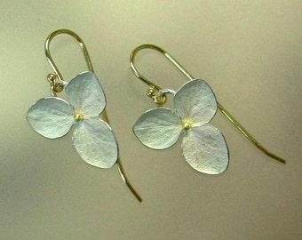 Drop Earrings, Hydrangea Earrings, Flower Earrings, Sterling Silver Flowers, Botanical Jewelry, 18k Gold Earwires, Made to order
