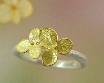 Silver and Gold Ring, Hydrangea Stacking Ring, Sterling Silver Ring, Twig, Leaf Ring, Botanical Jewelry, 18k Flowers, Made To Order