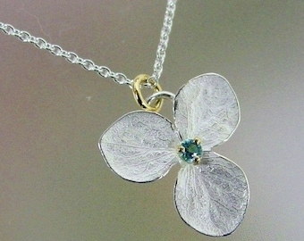 Blue Topaz Necklace, Hydrangea Flower Necklace, Sterling Silver Flower, Delicate Necklace, Unique Necklace, 18k Gold Details, Made to Order