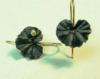 Drop Earrings, Botanical Jewelry, Geranium Leaf Oxidized Silver Earrings, 18k gold Ladybug, 18k Gold Earwires, Made to order