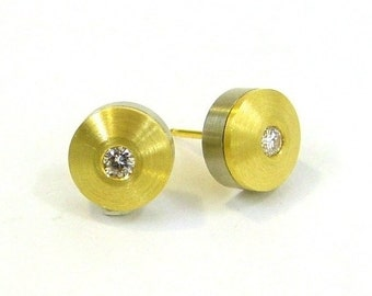 Contemporary Diamond Stud Earrings 18k Yellow Gold, White gold, Diamond Earrings, ready to ship