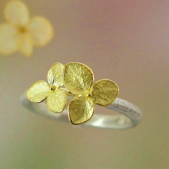 Hydrangea Blossom Ring, Stacking Ring, Sterling Silver Ring, Twig, Leaf, Botanical Jewelry, 18k Flowers, Made To Order