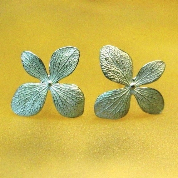 Hydrangea Flower Earrings, Sterling Silver Post Earrings, Silver Flower Earring, ready to ship