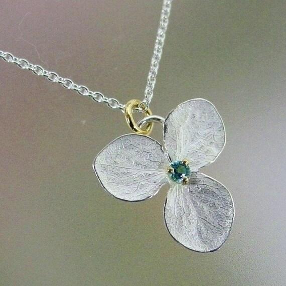 Blue Topaz Necklace, Hydrangea Flower Necklace, Sterling Silver Flower, Delicate Necklace, Unique Necklace, 18k Gold Details, Made to Order