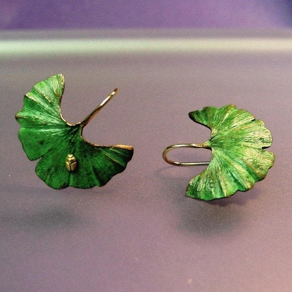 Ginkgo Leaf Earrings, Tiny 18k insect, 18k Gold Earwires, Green Patina, Made to order