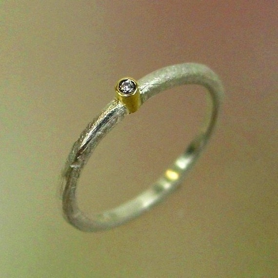 Diamond Ring, Diamond Solitare, Rustic Engagement Ring, Stacking Ring, Frosted Sterling, 18k gold bezel, Made to order