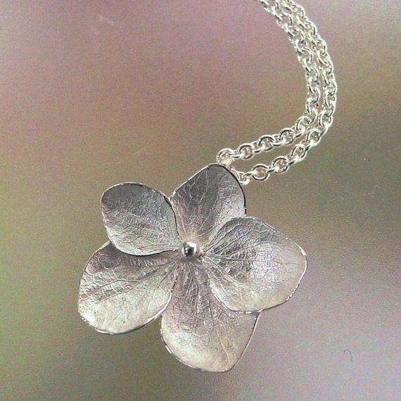 Hydrangea Necklace, Silver Flower Necklace, Sterling Silver Necklace, Delicate Necklace, Flower Pendant, Made to order