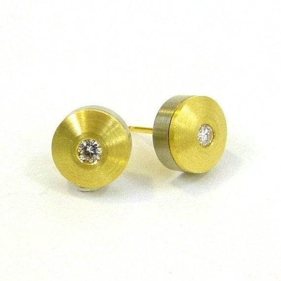 Contemporary Diamond Stud Earrings 18k Yellow Gold, White gold, Diamond Earrings, ready to ship