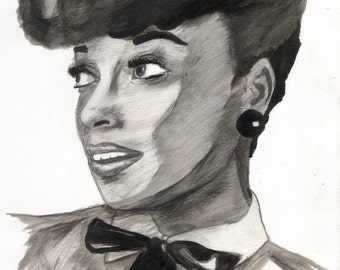 Janelle Monae Ink Drawing
