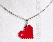 8bit LOVE laser-cut acrylic pixel heart necklace - translucent red