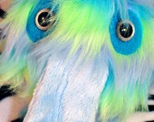 Licker monster plush furry with long tongue striped blue with silver eyes