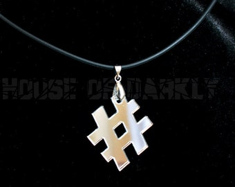 Twitter Hashtag trending topic laser-cut acrylic necklace - mirror silver