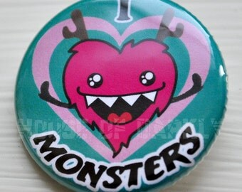 Button - I Heart Monsters pinback badge for lovers of the weird