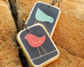 Bird lover jewelry  Rustic style bird earrings Paper and wood decoupage jewelry Handmade by The Paisley Mill . CoHEN