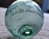 Vintage Glass Fishing Float Japanese - Arctic Ice - Nautical, Home Decor, Glass, Ocean, Beach, Cottage, Sea, Garden Decor, Fishing