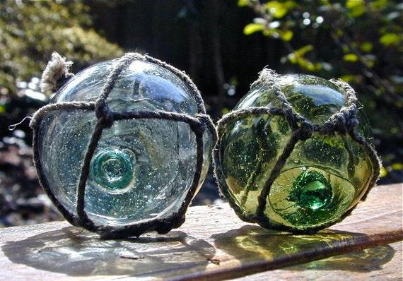 Vintage Glass Fishing Floats - Gemini Garden PR - Home Decor, Antique, Glass, Nautical, Ocean, Sea, Beach Decor, Japanese, Cottage, Fishing