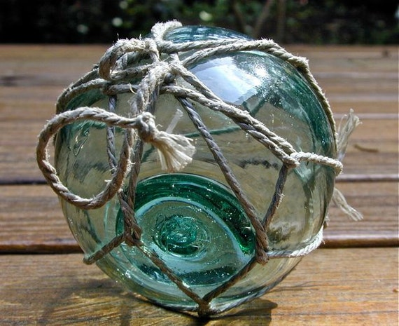 Glass Fishing Fishing Float Vintage Collectible, River Song MARKED, Home Decor, Nautical, Ocean, Sea, Beach, Cottage, Garden Decor