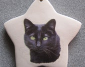 Black Cat star ornament, free personalizing 22k gold by Nicole