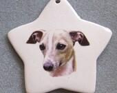 Italian Greyhound dog, star ornament, free personalizing 22k gold by Nicole