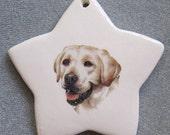 Yellow Labrador Retriever b dog, star ornament, free personalizing 22k gold by Nicole