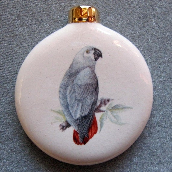 African Grey Parrot Ceramic Ornament, 22k gold decor, free personalizing by Nicole