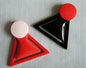 RESERVED FOR HELEN - 80s Vintage Bauhaus Geometric Paper Clips- Set of 2