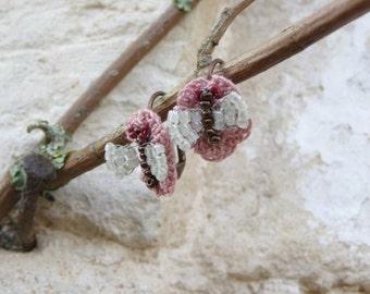 CROCHET FLOWERS and beaded butterfly mini dangles earrings