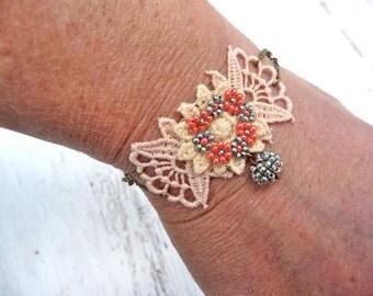 Floral LACE AQUA colors bracelet