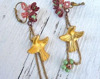 GOLDEN BIRDS long dangles earrings