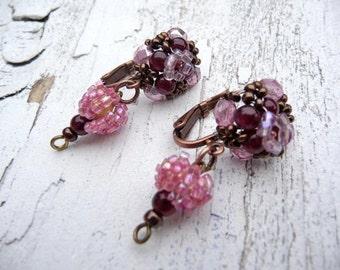 RASPBERRYS French beaded pendant earrings