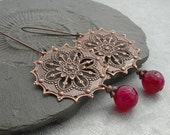 Long filigree Copper Earrings with Red faceted Agate Stone Dangle. Elegance with an ethnic touch in soft colors.