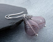 Transparent Glass with dark Swirls. Hollow Teardrop Earrings with silver and gunmetall accents.