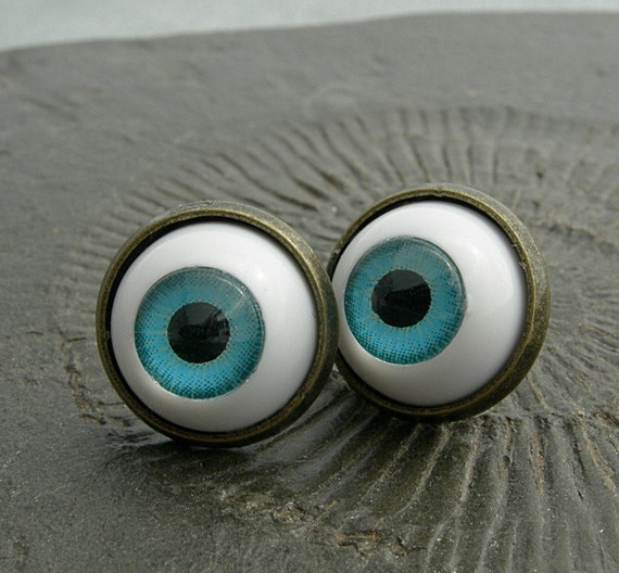 Spooky Blue Eyes - Cabochon Ear Posts with Doll Eyes in gunmetall Settings. Fun Halloween Jewelry