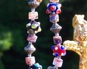Bumpy Bead Lampwork Stretch Bracelet, Colorful and Fun