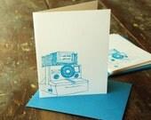 blue polaroid cards -set of 4