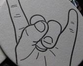 Letterpress Coaster Set - Rock Horns (8 per package)
