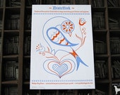 Letterpress Art Print - Pennsylvania Dutch Distelfink Bird - LIMITED EDITION