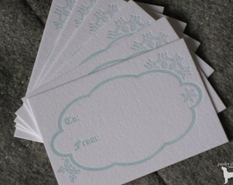 Letterpress Holiday Gift Tags - Winter Quilted Snowflakes (6 per package)