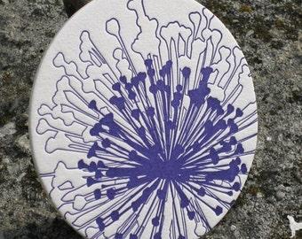 Abstract Dandelion - Letterpress Coaster Set (8 per package)