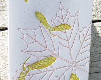 Letterpress Greeting Card - Maple Seeds and Leaf for Fall