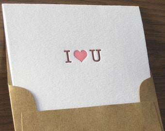 Valentines Day - Letterpress Note Card Set - I Heart U (set of 6)